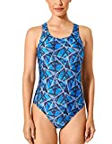 SYROKAN Women's Athletic One Piece Swimsuit B-H Cup Racerback Training Bathing Suits Blue Night 34DD