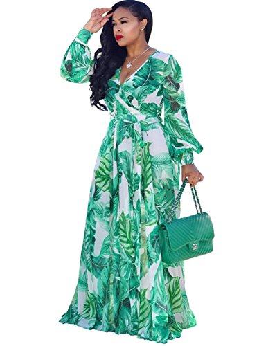 Dora's Womens Chiffon V-Neck Printed Floral Maxi Dress Long Sleeves Dresses High Waisted Belt Plus Size (Green L)