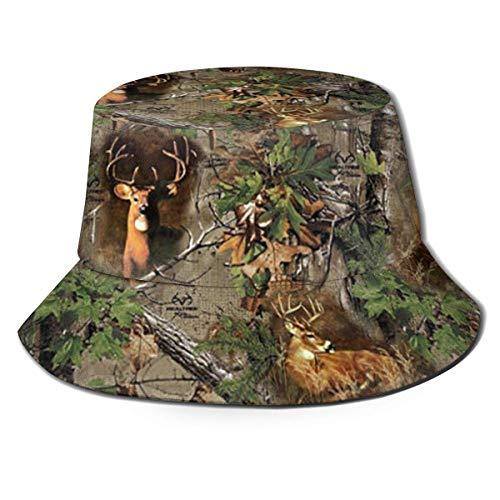 William Bacon Eimer Hut Echter Baum Tarnhirsch Truthahn Wald Fischerhüte Eimer Sonnenhüte Atmungsaktive Fischerschutzhüte Unisex