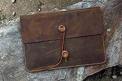 handmade vintage ~ handmade leather Macbook sleeve