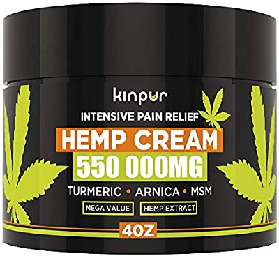 Hemp Cream for Pain Relief & Inflammation - 550 000 Mg - Made in USA - Recover Arthritis, Muscle Strain, Stiff Joints, Achy Hands, Knees, Fingers - with Msm - Emu Oil - Arnica - Turmeric by Manufactured for Kinpur