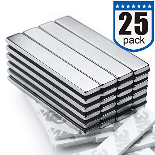 Strong Neodymium Bar Magnets 25 Pack  2X Stronger 2X Thicker Powerful Rare Earth Magnets  Industrial Strength NdFeB Magnet Set for Fridge DIY Crafts  60 x 10 x 3 mm