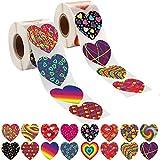 800 Pegatinas Rollo Corazón Elegantes, Pegatinas con Forma de Corazón Colorido de San Valentín Etiqueta Decorativa de Corazón de Amor de San Valentín para Adorno San Valentín Accesorio de Fiesta Boda