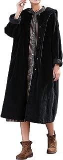 Women's Long Trench Coat Button Corduroy Long Jackets with Big Hood