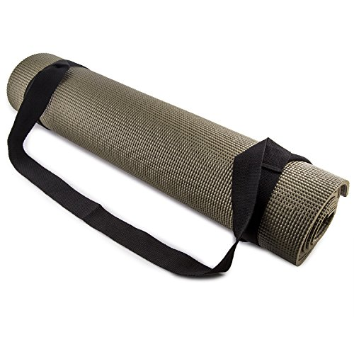 FIT SPIRIT Adjustable Cotton Yoga Mat Carrying Strap, Black