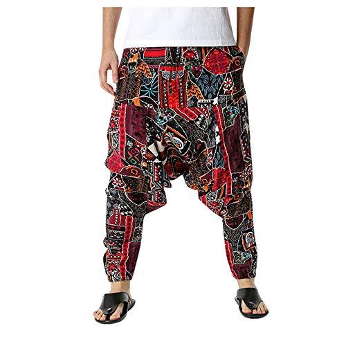 Pantalones Harem Unisex con Bolsillo para Hombre, Pantalones de algodón y lino Bloomers, Pantalones Casuales de cintura elástica ligeros sueltos, Pantalones con Estampado Retro (Multicolor, XXL)