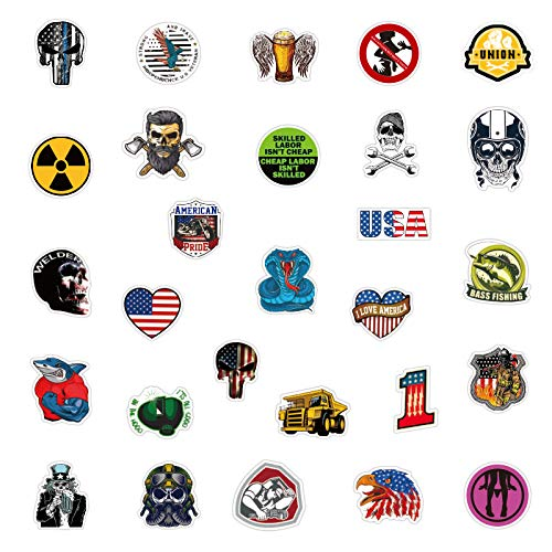 Hard Hat Stickers for Tool Chest Lunch Box,Stickers for Hard Hat Accessories,Tool Box Helmet Welding Construction Union Military Ironworker Lineman Oilfield Electrician Pipeliner(100pcs)