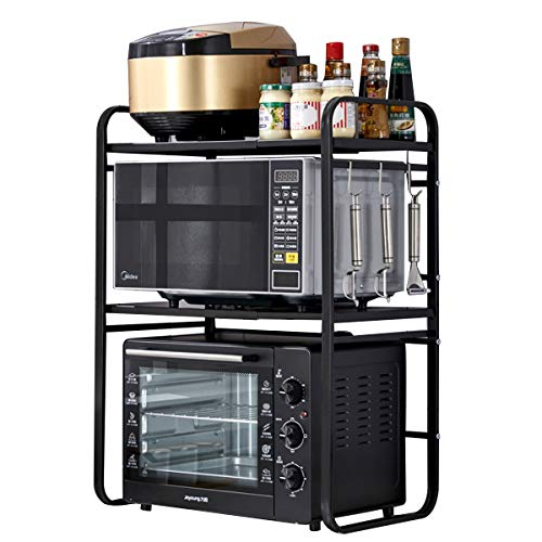 Support extensible pour micro-ondes avec 3 crochets amovibles, étagère en acier au carbone pour four à micro-ondes cuisine plan de travail, charge 30 kg, 40-64 x 34,5 x 78 cm