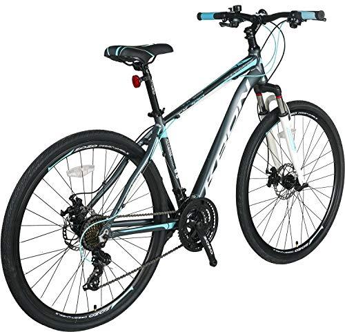 KRON TX-100 Aluminium Mountainbike 28 Zoll   21 Gang Shimano Kettenschaltung mit Scheibenbremse   18 Zoll Rahmen MTB Erwachsenen- und Jugendfahrrad   Grau Blau - 3