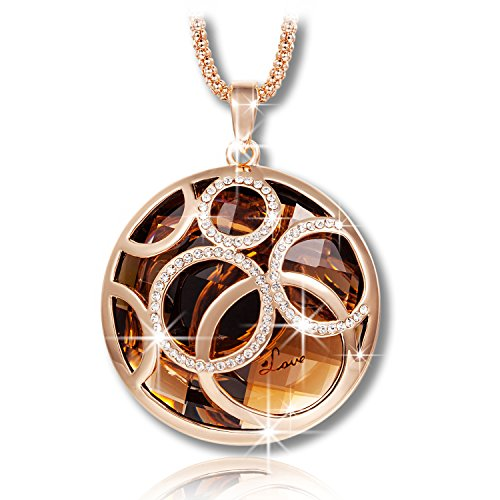QIANSE Necklaces Gifts for Her for Women Rolling Ball Rose Gold Plated Round Pendant Necklace with Brown Austrian Crystal Jewelry for Women Sweater Chain Necklace Christmas Birthday Gifts
