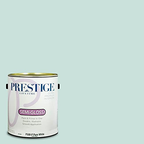 Prestige Paints P500-P-MQ3-20 Interior Paint and Primer in One, 1-Gallon, Semi-Gloss, Comparable Match of Behr Whipped Mint, 1 Gallon, B1