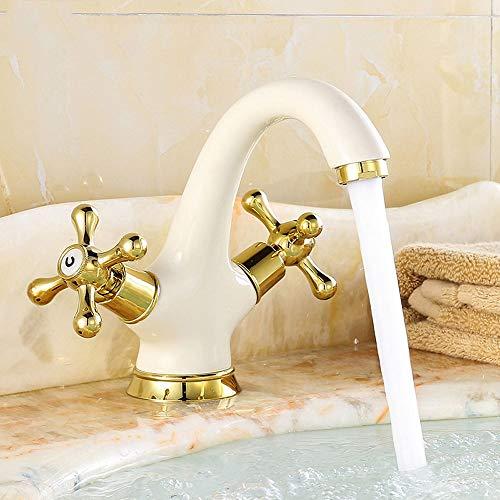 (agua) grifo, grifo, Bibcock todo cobre antiguo estilo europeo hornear pintura blanca oro lavabo agua caliente y fría lavabo arte grifo retro