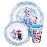 FROZEN 2 | Set Vajilla Infantil - Apta para microondas | Servicio de Mesa libre de BPA para niños y bebés - 3 Piezas: Vaso, Plato y Cuenco