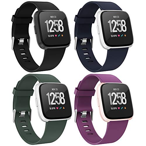 Recoppa 4-Pack Compatible with Fitbit Versa 2 Bands, Adjustable Replacement Wristbands Compatible for Fitbit Versa/Versa 2/Versa Lite Edition/Versa Special Edition for Women Men, Small