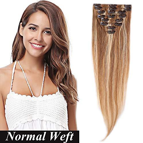 """Extension a Clip Cheveux Naturel Extension Clip Pas Cher SEGO ® [Basic Epaisseur] 8 Bands a 18 Clips Clip in Hair Extension - 100% Human Hair 10""""(25cm) - 12P613#Brun Doré & Blond Blanchi"""