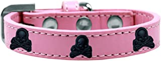 Mirage Pet Products 631-27 LPK14 Skull Widget Dog Collar, Size 14, Light Pink