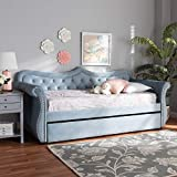 Wholesale Interiors Baxton Studio Abbie Traditional and Transitional Light Blue Velvet Fabric Upholstered and Crystal Tufted Twin Size Daybed with Trundle