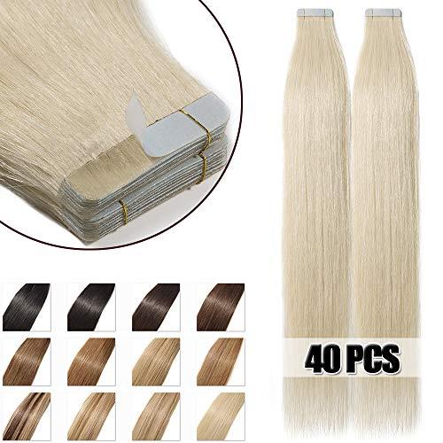 Tape extensions echthaar 55cm Remy Echthaar Haarverlängerung 40 Tressen 100g #60 Weißblond
