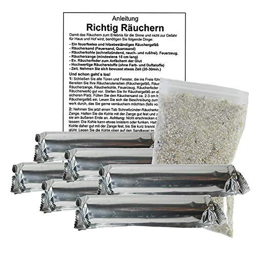 60 x Räucherkohle 40mm zum Räuchern mit Zubehör. 8-tlg Räucherset mit 6 Rollen Premium Kohle für Räucherwerk + Räuchersand + Räucheranleitung. 81584-L