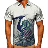LXTOPN 3D Tigre Camisa hawaiana 100% microfibra estampada 3D, impresión casual de manga corta hawaiana flor shirt unisex (C,L)