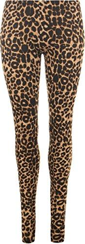 WearAll - Damen Übergröße Tier Leopard Druck Leggings in voller länge - Braun - 44 bis 46