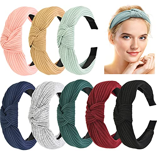 Maxdot 8 Pieces Wide Headbands Knot Turban Headband for Women Girls, Non Slip Fabric Headbands Knotted Hair Band Elastic Hair Accessories, 8 Colors