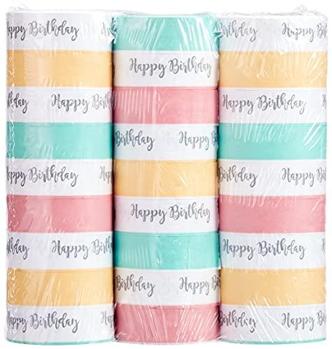 Amscan 9903734 - 3 Luftschlangen Happy Birthday, Pastelfarben, Papier, Dekoration, Geburtstag