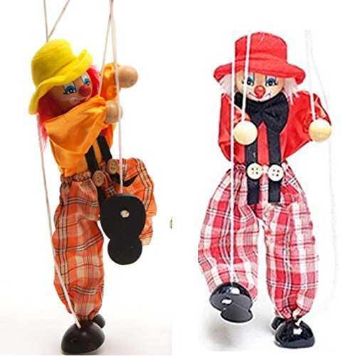Sparik Enjoy 2 Packs Clown Hand Marionette Puppet Children's Wooden Marionette Toys Colorful Marionette Puppet Doll Parent-Child Interactive Toys-Yellow and Red