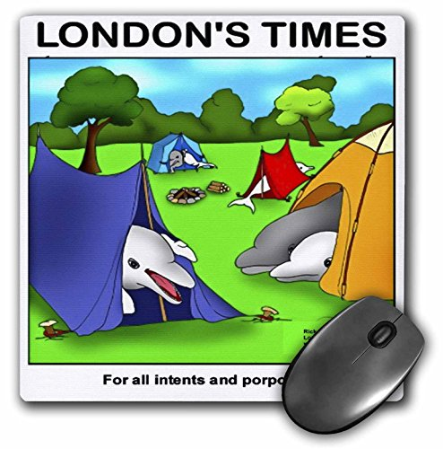 3dRose Londons Times Offbeat Cartoons Animals - Dolphins On A Camping Trip Gifts - Mousepad (mp_35788_1)