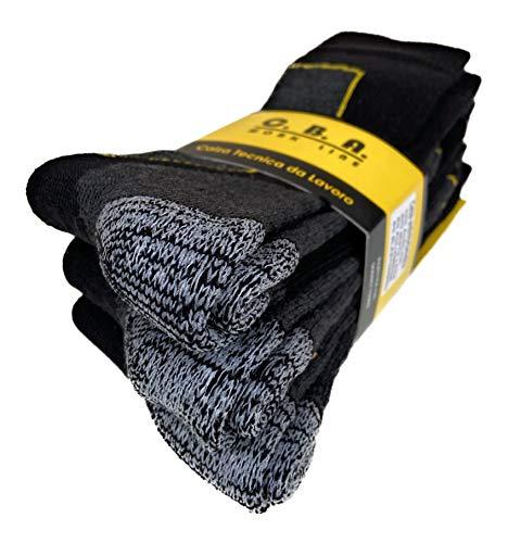 calze calzini da lavoro rinforzati in lana e pile termici,antifreddo,adatti per lavori a temperature rigide,altezza metà polpaccio,prodotto made in ITALY(3 or 6 pack). (43-46, 3 paia NERO)