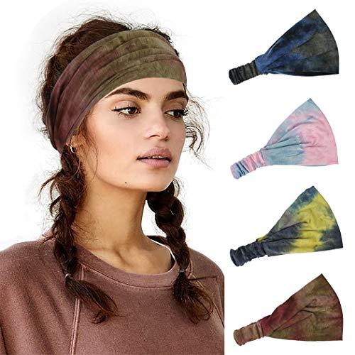 Sethexy Breit Stirnbänder Wicking Elastisch Kopfwickel Tie Dye Print Haarband 4 Stück Yoga Jahrgang Kopftuch Laufen Stirnband für Frauen und Mädchen