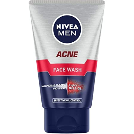 NIVEA Men Acne Face Wash for Oily & Acne Prone Skin, Fights Oil & Dirt with Magnolia Bark Power, 100 g