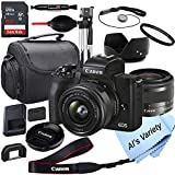 Canon EOS M50 Mark II Mirrorless Digital Camera with 15-45mm Lens + 64GB Card, Tripod, Case, 18pc Bundle
