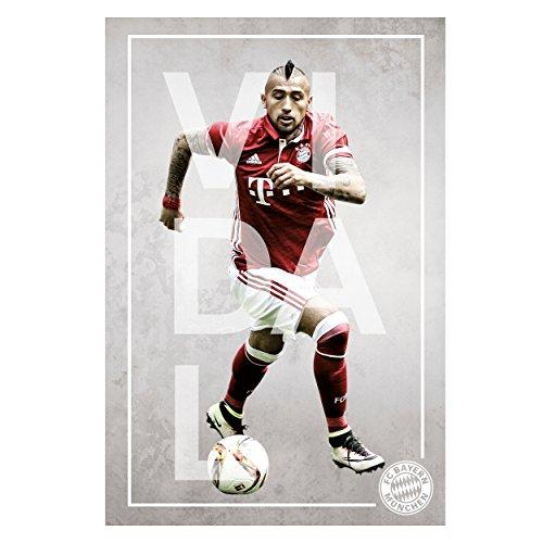 FC Bayern München Poster Spieler Vidal FCB + gratis Aufkleber, Spielerportrait