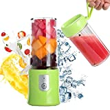 Toycol Personal Portable Blender Travel Fruit Juicer Cup with 2Pcs Cups Mini Blenders Bottle for Shakes and Smoothies USB Rechargeable PBA Free 6 Blades Ice Fruit Mixer Gift Pakage 10.8OZ,320ml (Green)