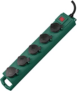 Brennenstuhl Super-Solid SL 554 Socket with 5 Power Sockets - Garden (5m Cable with Switch, IP54, Outdoor Use) Green