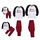 FELZ Navidad Conjunto Familiar De Ropa De Dormir Dos Piezas-A Juego Feliz Navidad Pijama Estampado De Santa y Pantalones A Cuadros Pullover Tops Sudadera Chándal Mujer Hombre Niño Bebe