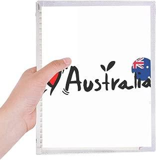 I Love Australia World Flag Heart Notebook Loose-leaf Spiral Refillable Journal