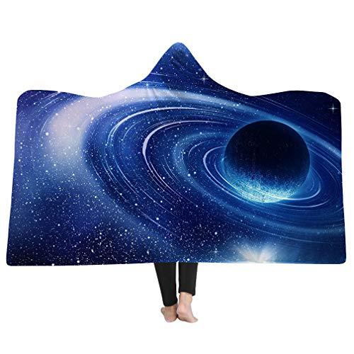 Sticker Superb Couverture à Capuche imprimée série Galaxy,Doux Couverture en Laine Sherpa pour Adulte Enfant Couverture d'espace Confortable avec Capuche (Multicolore 4, 60\