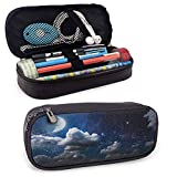 MHKG Estuche de cuero Apartment Decor Colorful Pencil Cases Celestial Solar Night Scene Stars Moon and Clouds Heaven Place in Cosmos Theme Holder Box Organizer Gifts with Zipper Closure Dark Blue Whit