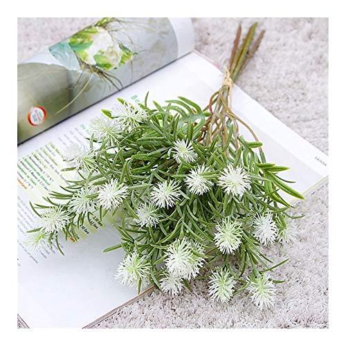 Roovtap Gefälschte Carnation Artificial Dandelion Kunststoff Chrysanthemum Kugel Pflanze Hochzeit Heim Tabelle Blumendekoration Dried Flower (Color : White)