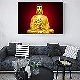 KWzEQ Die goldene Buddha-Statue ist auf der Leinwand an der Wand des Wohnzimmers für Kunstplakate...