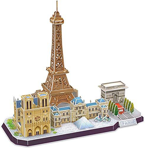 3D Puzzle Für Erwachsene Und Kinder Paris Cityline Architektur Gebäude Modell Kits Sammlung Geschenk Für Frauen Und Männer, Eiffelturm Notre Dame De Paris Die Louvre 114 Stück