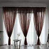 BOYOUTH Cortinas de gasa transparente de color sólido, con bolsillo para barra de ventana para dormitorio, sala de estar, hotel, café oscuro, 1 panel, 39 x 78 pulgadas
