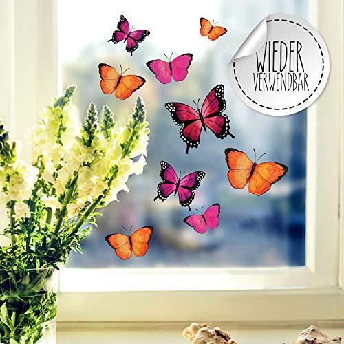 Fensterbilder Fensterbild Schmetterlinge pink orange lila wiederverwendbar Frühling Frühlingsdeko Fensterdeko bf57 - ausgewählte Farbe: *bunt* ausgewählte Größe: *1. Schmetterlinge pink orange lila*