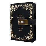 B6 ヴィンテージレザーロックジャーナル ダイアリー コンポジションロック付き ノートブック 女の子/男の子/友人へのギフトに 7.87 X 5.5インチ (ブラック)