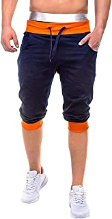 Men Solid Casual Shorts Sports, Male Elastic Joggings Sport Solid Baggy Pockets Short Pant