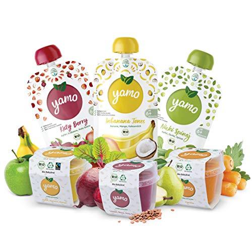 yamo Bio Babybrei und Quetschies | Vitamin-Set | ab 6 Monate | kaltgepresst | 12 x 118g Becher | 4 x 120g Quetschies