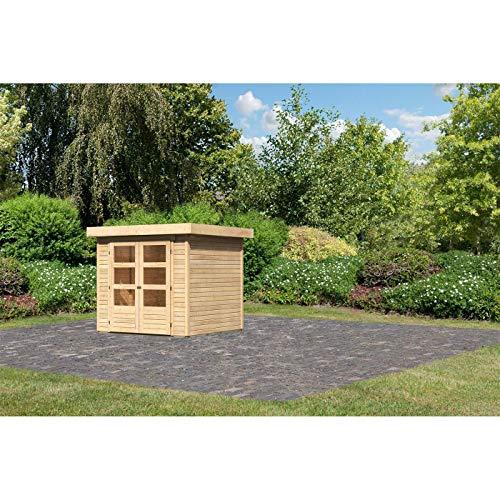 Röhrs Edition - Karibu Gartenhaus Walsrode 2 naturbelassen Set mit Boden & Dachfolie - Gerätehaus aus Fichtenholz - 213 x 217 cm - 19 mm Wandstärke - modernes Design mit Flachdach