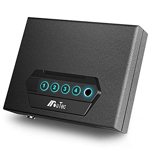 Moutec Biometric Handgun Safe, Quick Access Pistol Safe Lock Box for Home/Car/Travel, Fingerprint Hand Gun Safe Firearm Case Box - Biometric/Keypad/Key Access,Silent Mode